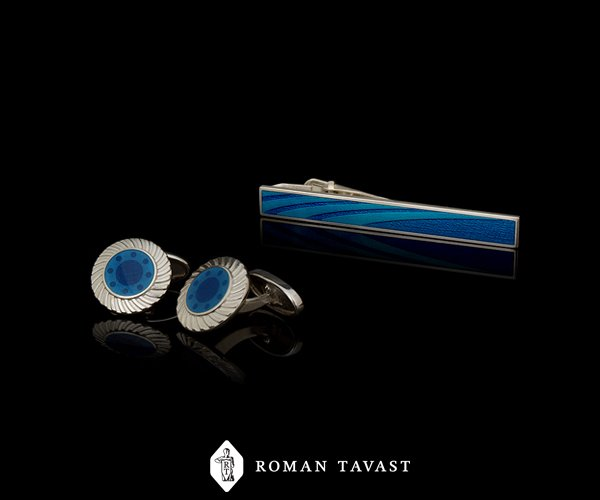 Tie clip and cufflinks