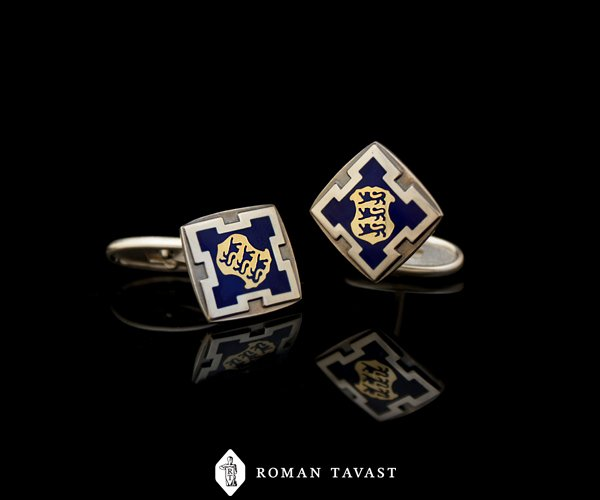 Cufflinks, enameled