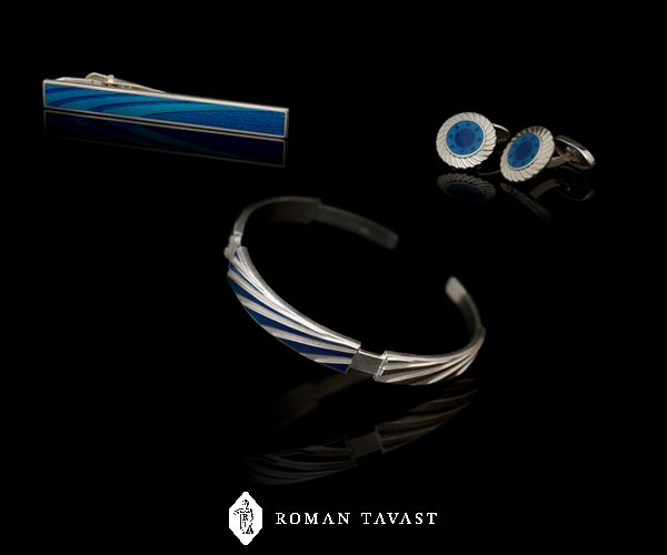 Set of Tie Clip, Cufflinks and Bracelet