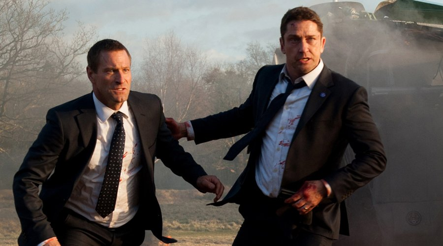 Gerard Butler and Aaron Eckhart in the movie London Has Fallen