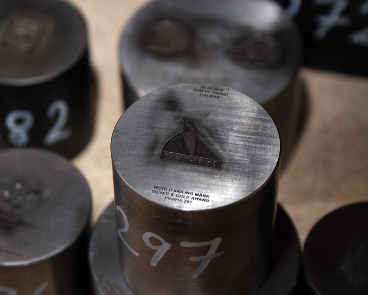 Die Stamp of World Sailing Award Lapel Pin