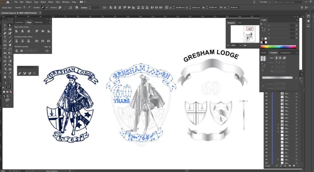 Design of lapel badge for Gresham Lodge