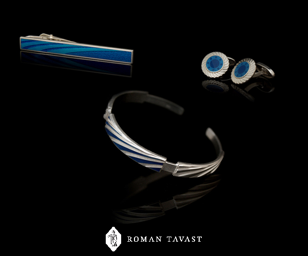 ATA Gears Set of Cufflinks, Tie Clip and Bracelet